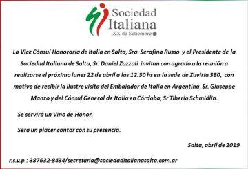 Visita del Exmo. Embajador de Italia en Argentina, Giuseppe Monzo y del Consul General de Italia en Cordoba, Tiberio  Schmidlin